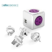 Allocacoc PowerCube Travel Adapter Socket Plug Power Strip EU USA CN 4 Outlet USB Ports For Australia New Zealand Japan10A 2500W