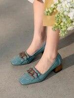 eshtonshero square toe women pumps new fashion genuine leather summer ladies high heels 4 5cm shoes retro womens wedding shoes
