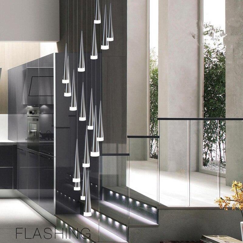 Lámpara colgante de escalera de Espiral de LED, lámpara colgante largo de cuerpo de cromo plateado para salón stairewell