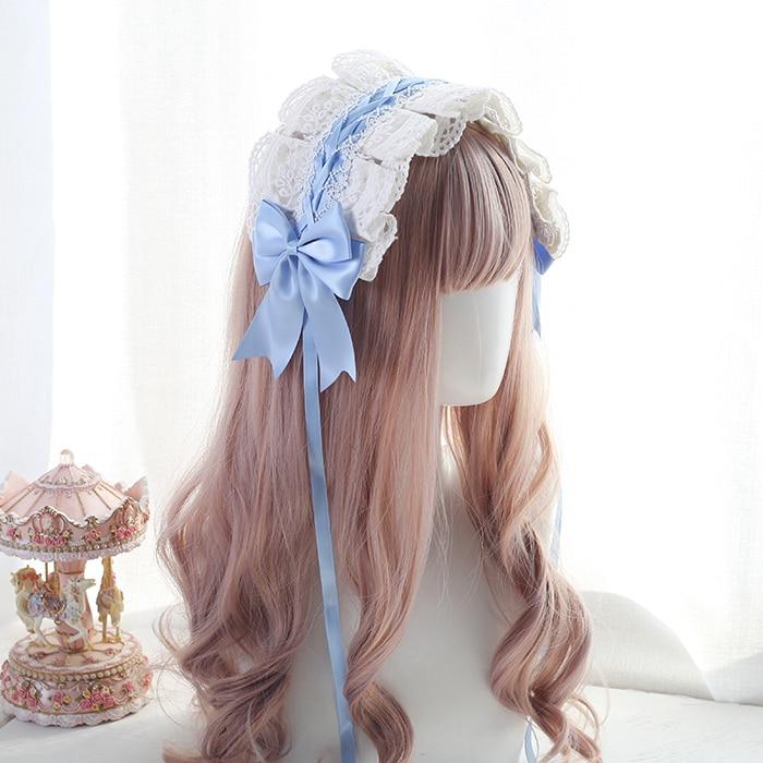 Banda de pelo para tocado de encaje blanco Lolita chica suave de estilo japonés accesorio para el cabello KC