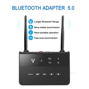 80M Bluetooth 5.0 Transmitter Receiver Bypass Aptx LL Low Latency Wireless Audio Adapter 3.5mm AUX RCA Jack For PC TV Headphone