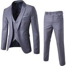 3 Pieces Business Blazer +Vest +Pants Suit Sets Men Autumn Fashion Solid Slim Wedding Set Vintage Cl