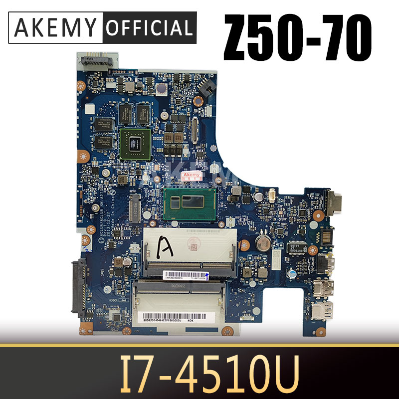 AKemy Laptop motherboard For LENOVO Ideapad Z50-70 I7-4510U  GT820M/GT840M GPU Notebook Mainboard NM-A273 SR1EB DDR3