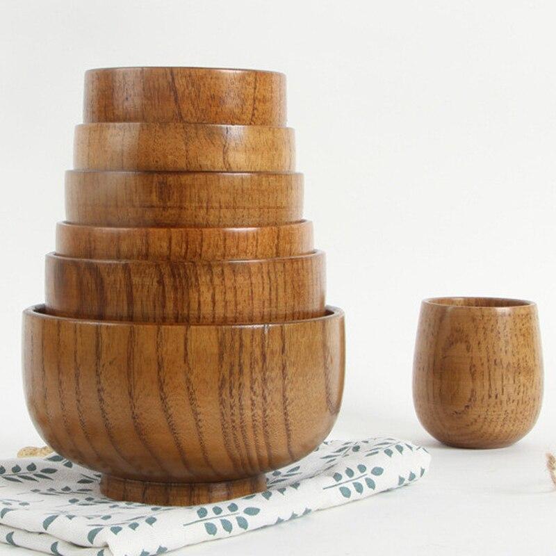 Tigela de madeira do recipiente do alimento das bacias de macarrão do arroz da sopa original dos utensílios de mesa da bacia do estilo japonês/salada