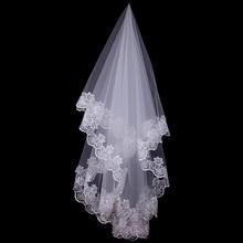 150cm velo da sposa corto da sposa bianco uno strato pizzo bordo fiore Appliques accessori da sposa per donna sposa