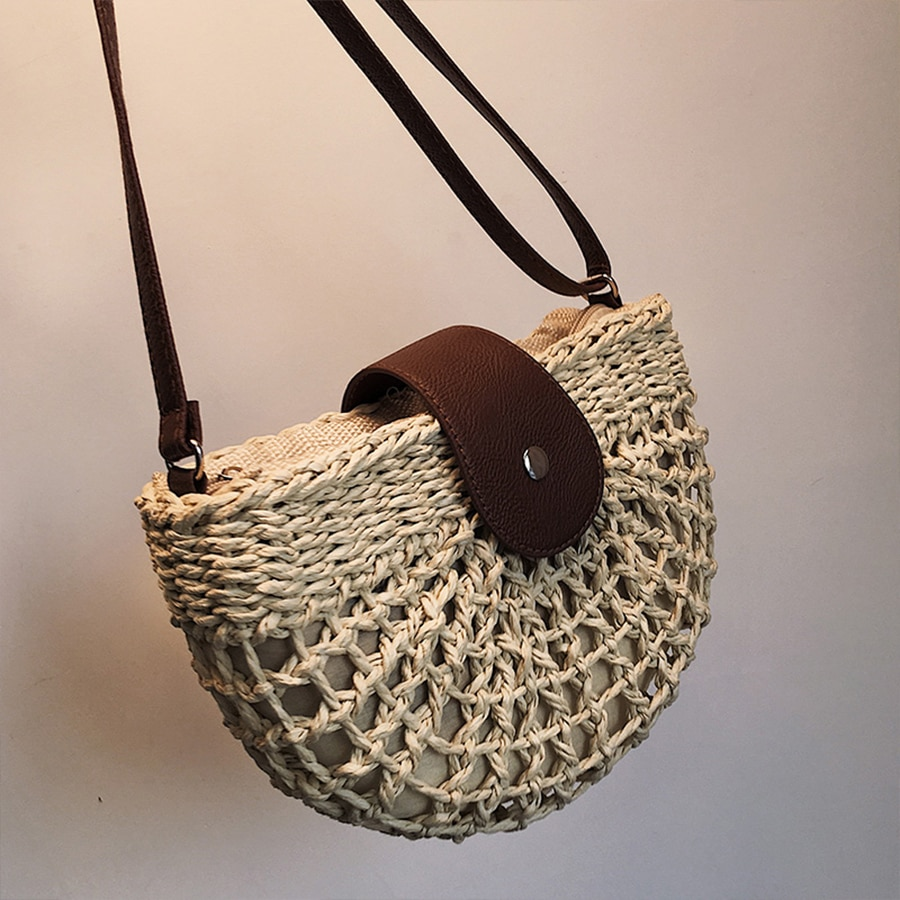 Bolsos de paja hecho a mano de verano para mujer, bolsos de hombro de mimbre de media luna para playa, bolso cruzado de mujer tejido de mimbre, bolsos de playa pequeños