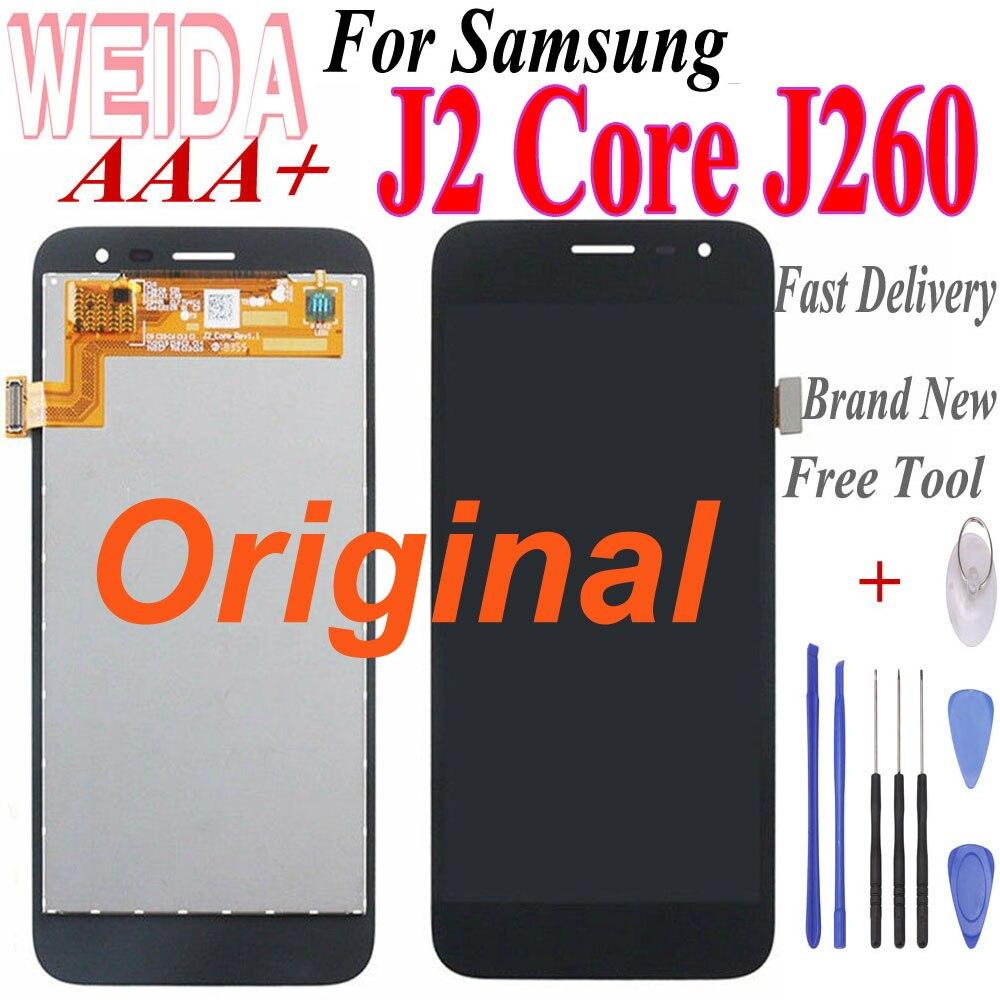 Original 5 lcd lcd lcd para samsung galaxy j2 núcleo j260 display lcd tela de toque digitador assembléia substituição com ferramenta gratuita