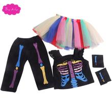 18 inch Girls doll dress baby girl Halloween costumes + colorful dresses American newborn accessorie