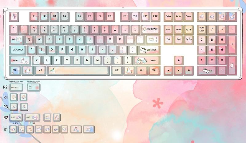 1 مجموعة محدودة قوس قزح الحصان خمسة الوجهين التسامي الكرز الشخصي غرار keycap ل MX التبديل الميكانيكية لوحة المفاتيح غرار keycap