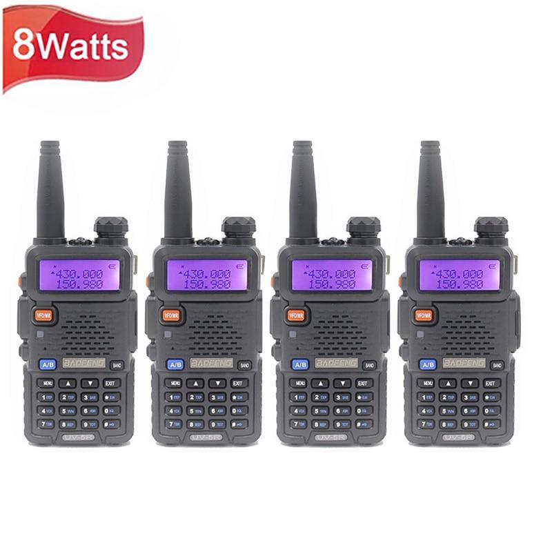 4 قطعة Baofeng UV-5R واكي تاكي محمول محطة راديو 128CH VHF UHF ثنائي النطاق UV5R اتجاهين راديو للصيد لحم الخنزير راديو CB