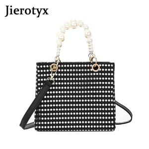 JIEROTYX роскошные сумки через плечо для женщин модные жемчужные украшения Изысканная сумка на плечо трендовые сумки с клапаном дамская сумочк...