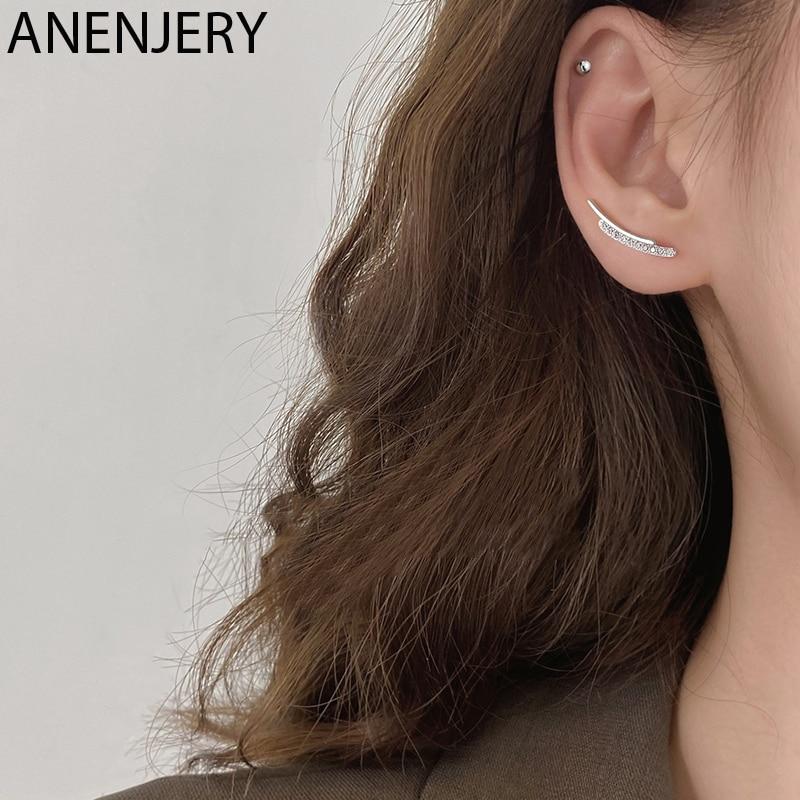 Anenjery fina barra curvada brincos geométricos para as mulheres suave pequena cor de prata zircão brincos jóias minimalista S-E1313