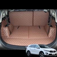 fiber leather car trunk mat for kia carens 2013 2014 2015 2016 2017 2018 2019 kia rondo car accessories