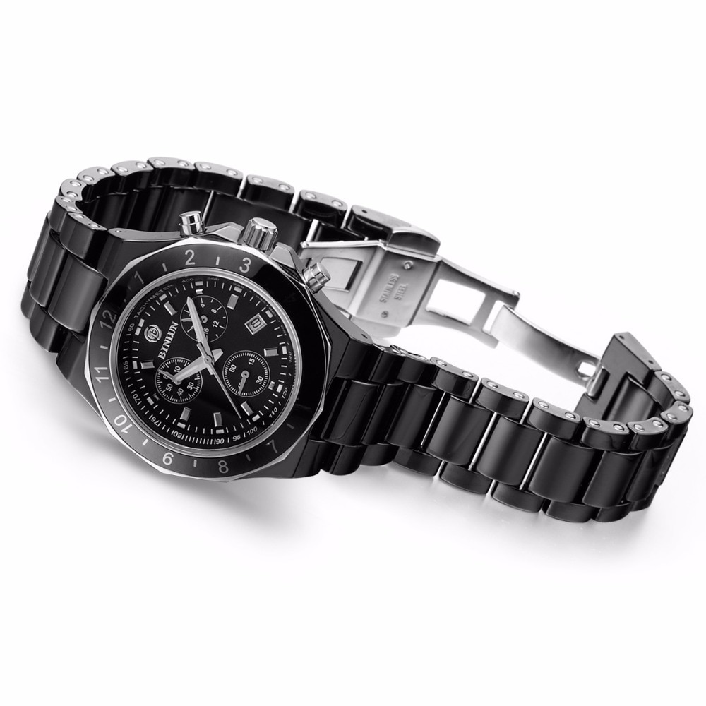 BINLUN Women's Watch White Ceramic Quartz Watches Minimalist Waterproof Japanese Wristwatches Lady Diamonds Bracelet with Date enlarge