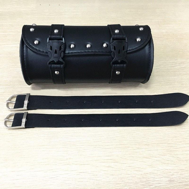 PU Leather Motorcycle Bag Moto Top Case Side Tool Saddle Bag Roll Barrel Storage Bag Waterproof Universal 2 Mounting Straps enlarge
