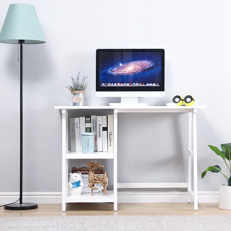 Набор белых верстаков с двумя полками, практичные компьютерные столы для удобной сборки и чистки, подходят для офиса, кабинета, спальни