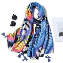 Large Size Cotton Scarf Women Shawls and Wraps Fashion Print Foulard Ladies Pashmina Head Hijab Scarves Tassel Beach Stole