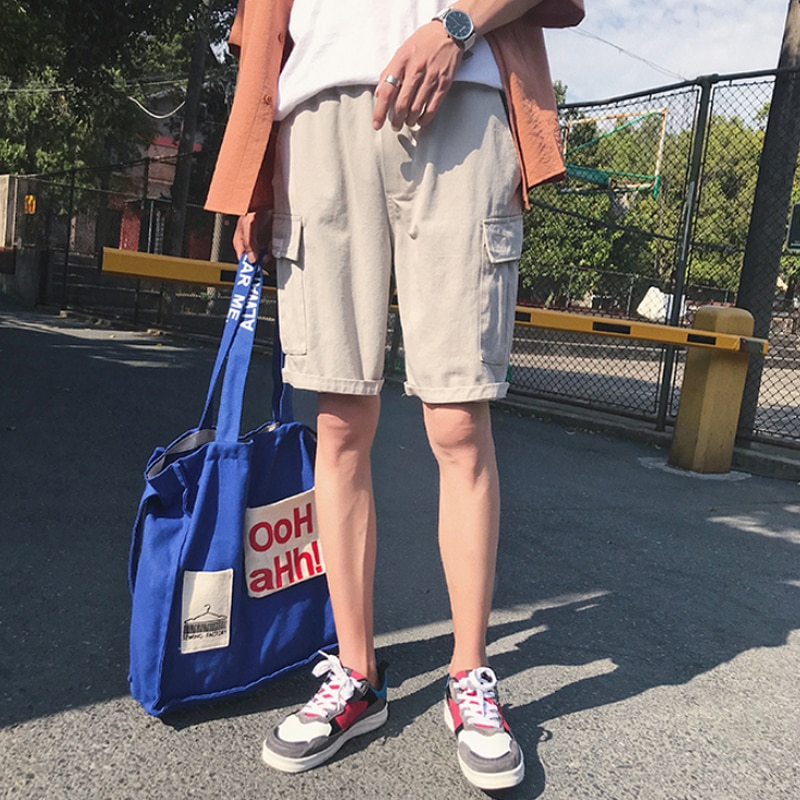 2020 New Mens Pant Loose Shorts Casual Plus Size 2XL Korean Cotton Fashion Five Points Trousers Movement Beach Clothing Tooling