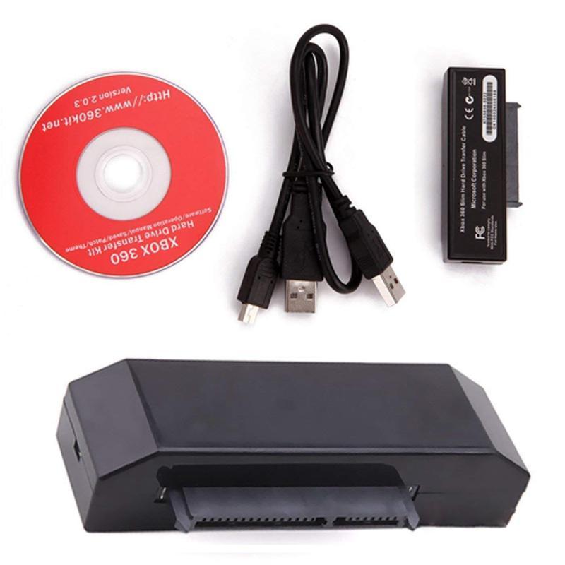 Disco duro USB Cable DE TRANSFERENCIA DE DATOS HDD Cord Kit para x-box 360 Slim to PC negro