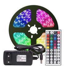 RGB LED bande lumineuse RGB 5050 SMD 2835 ruban Flexible fita lumière led bande RGB 5M 10M ruban Diode DC 12V télécommande adaptateur