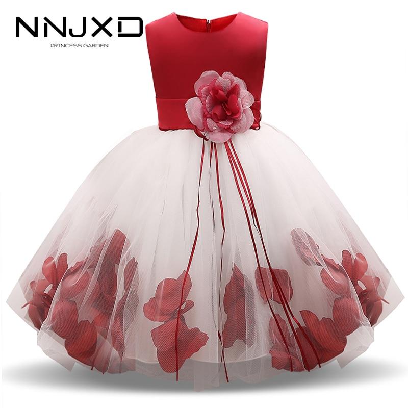 2020 meninas rosa pétala hem bonito princesa vestido floral crianças vestidos de natal para a menina casamento vestidos de aniversário vestido de festa 4-10y