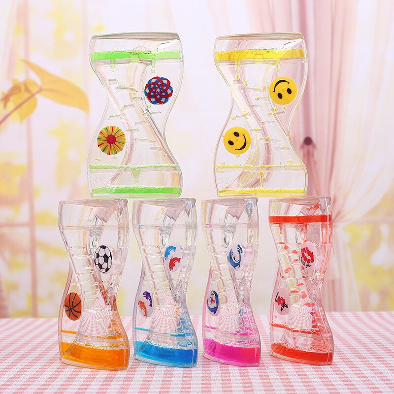 2pcs Double Colors Oil Hourglass Liquid Motion Bubble Timer with Pretty Waist Desk Decor Birthday Gift Children Toy