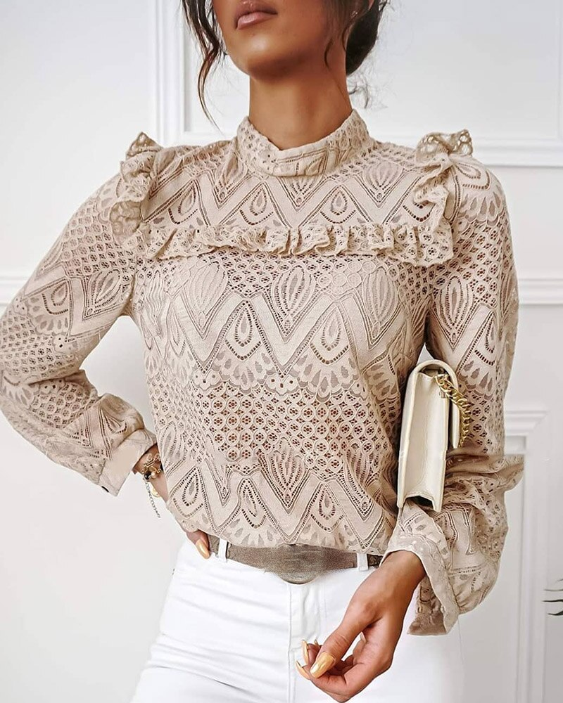 hollow out crochet insert frill top 2020 Fashion Women Elegant Casual Lace Frill Hem Hollow Out Long Sleeve Top Lady Solid Slim Fit High Neck Blouse Outwear