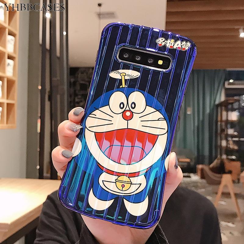 YHBBCASES, fundas blandas de Doraemon con dibujos de Rayo Azul para Samsung Note 10 8 9, funda 3D Stria para Samsung Galaxy S10 S8 S9 Plus