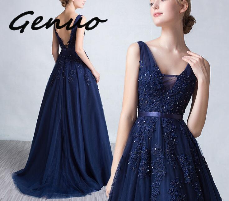 Genuo New Sexy V-neck Dress Robe De Soiree 2019 High Quality Grey Tulle With Applique Dresses Real Photo Vestido De Festa