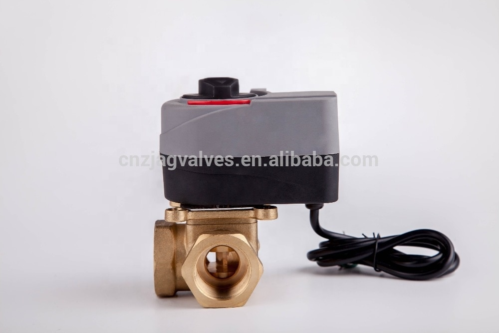 Rotary Actuator 3 way Brass Motorized Thermostatic Water Mixing Diverting Valve enlarge