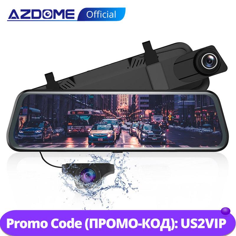 """Azdome 10 """"Spiegel Dash Cam Streaming Media Adas Aanraken Dual Lens Achteruitrijcamera Nachtzicht 1080P Voor Parkeersensoren modus"""