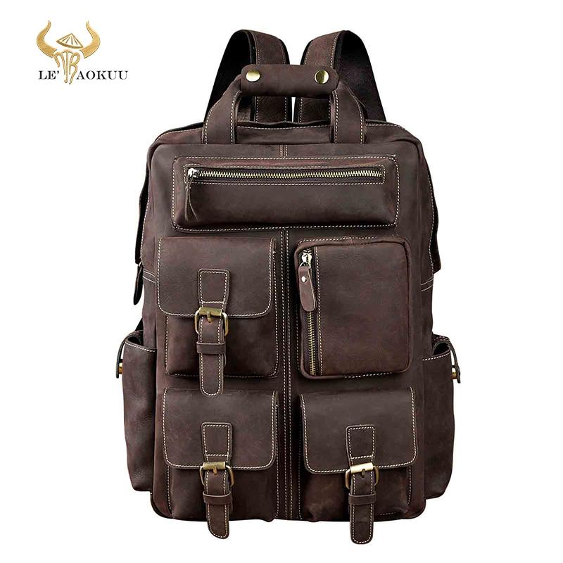 Дизайнерский Мужской кожаный повседневный модный рюкзак для путешествий, школы, колледжа, ноутбука, рюкзак, рюкзак для мужчин 1170