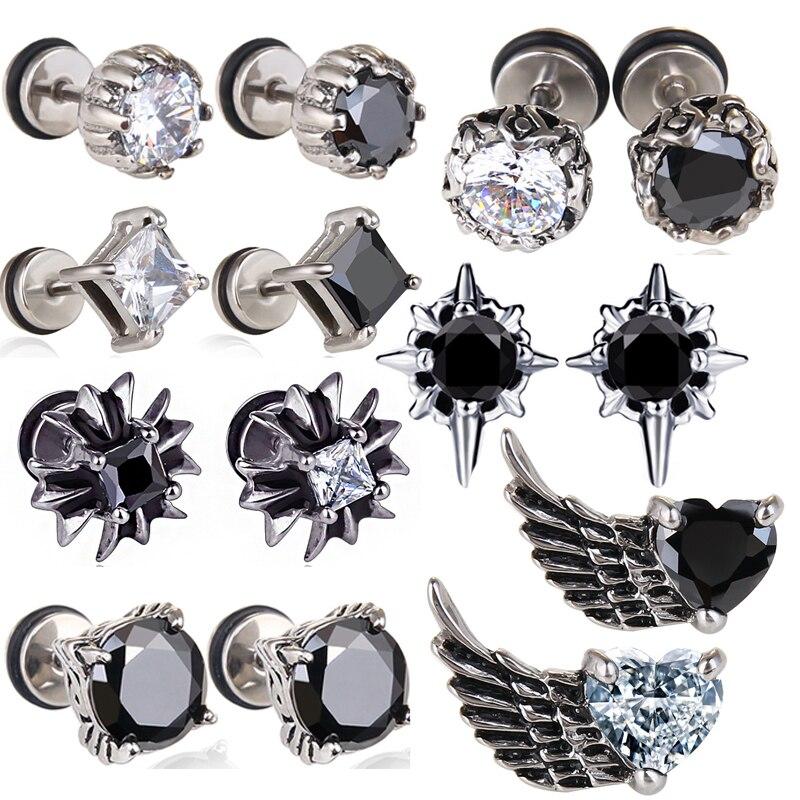 GTQ, 1 pieza, Unisex, barra de acero de titanio, pendientes para hombre, Piercing Punk antialérgico, pendiente de tuerca, joyería masculina de moda, los mejores regalos