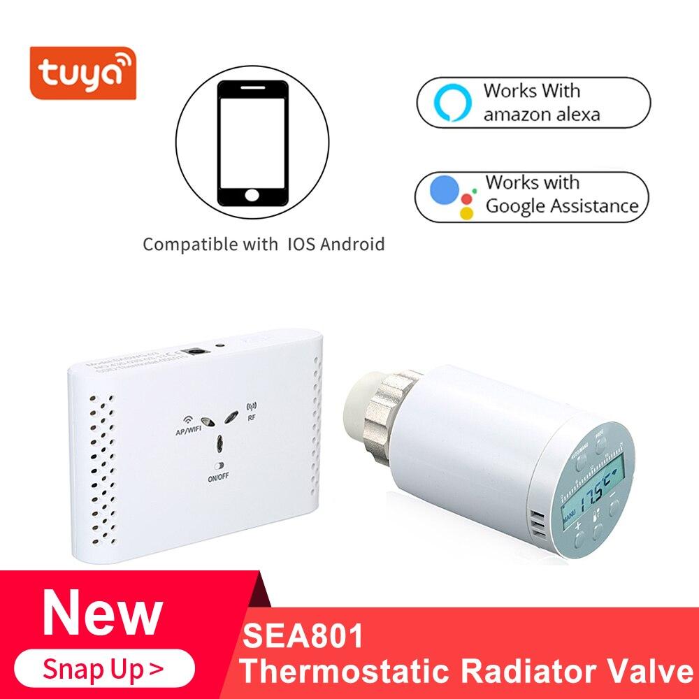 Controlador de Temperatura Receptor e Trv Termostática do Radiador para Aquecimento Caldeira a Gás Termostato Programável Válvula Sea801-wifi