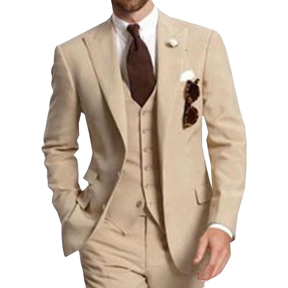 Мужской костюм из 3 предметов, формальные деловые костюмы, однотонный смокинг с отложным воротником, для свадьбы, жениха, мужской бежевый пи...