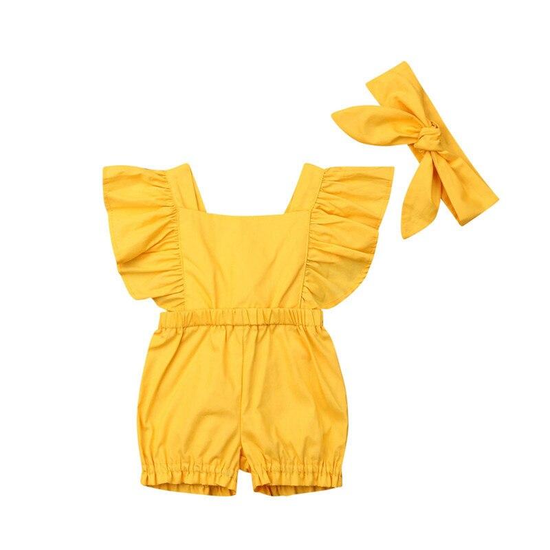 Newborn Infant Baby Girl Romper Headband Jumpsuit Outfit Sunsuit Clothes 2PCS Children Bodysuits Baby Clothing 2020