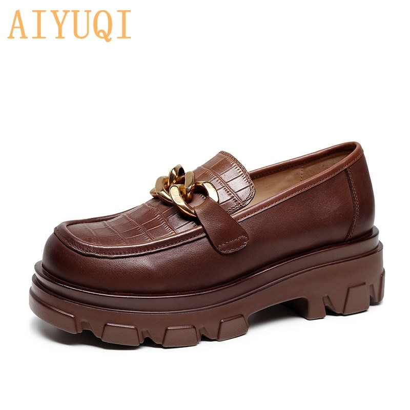 AIYUQI Women Shoes Genuine Leather 2021 Spring Thick-soled Fisherman Shoes Ladies Sleeve Women Retro
