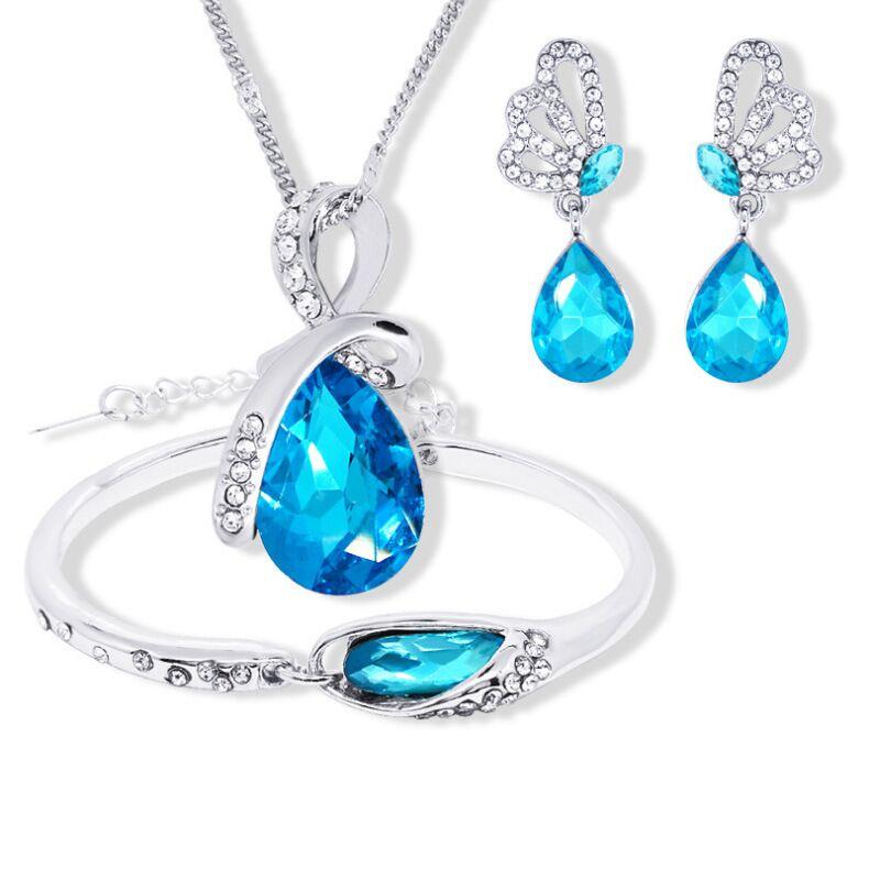 QiLeSen женский свадебный 925 пробы Серебряное ожерелье Кулон Серьги Браслет набор, хорошее ювелирное изделие австрийский кристалл S0146