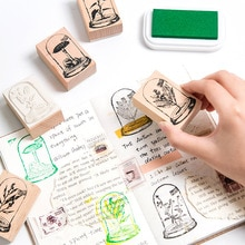 Vintage verre plantes décoration timbres créatifs bricolage timbres pour Scrapbooking Standard timbre en bois Journal fournitures
