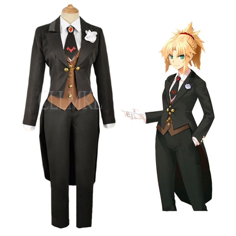 Anime Fate Grand Order Mordred, traje de esmoquin, uniforme Cosplay, traje gótico ajustado, ropa negra