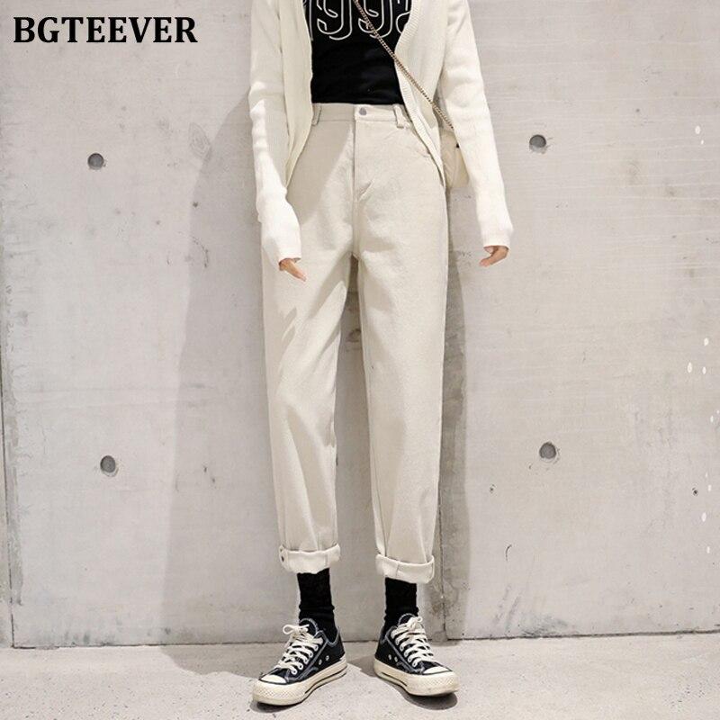 BGTEEVER Women High Street Denim Jeans Casual High Waist Loose Female Denim Pants 2020 Spring Ladies Harem Jeans Trousers