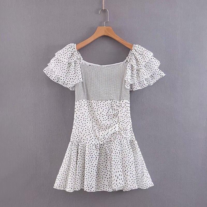 Женская летняя одежда, новинка 2019, платье-Одуванчик с рукавом в форме листа лотоса, платье-одуванчик