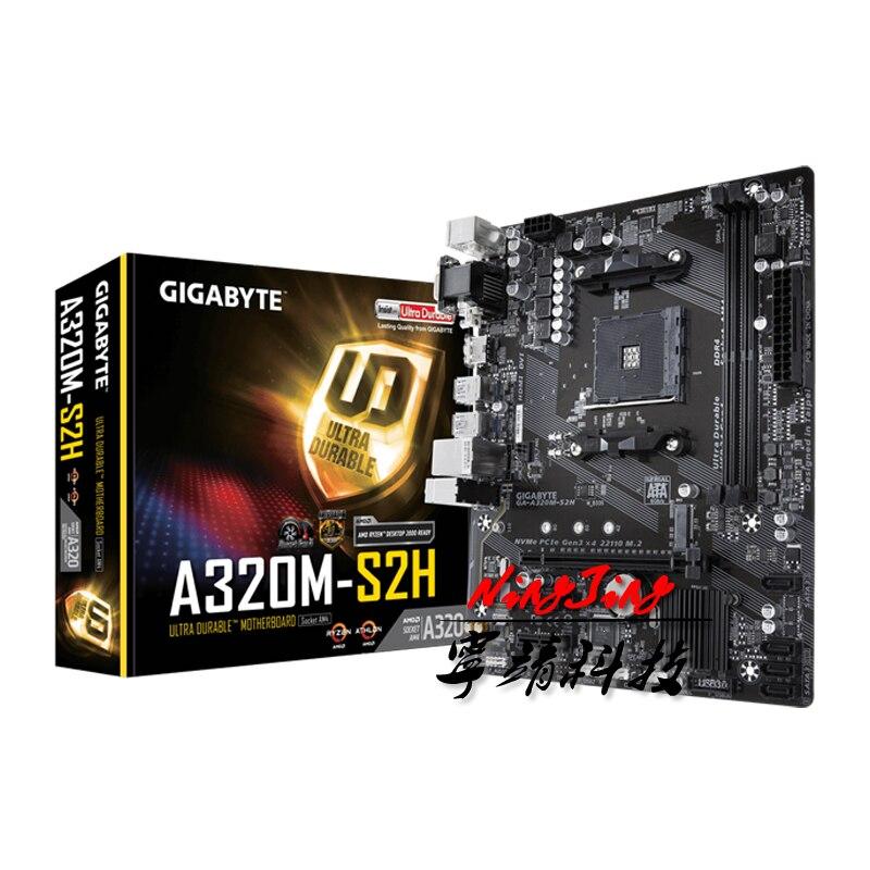 Gigabyte GA A320M S2H M-ATX AMD A320/DDR4/M.2/USB3.1/STAT3.0/SSD/New/32G/Двухканальный/Поддержка R9 3900X разъем AM4 материнская плата