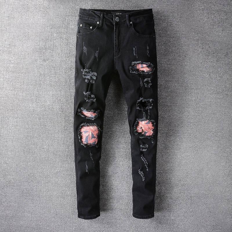 تصميم جديد لعام 2021 بنطال جينز أميري من الجينز ذو ثقوب ، بنطال جينز ممزق للرجال من HOMME ، بنطلون جينز كول غي 662