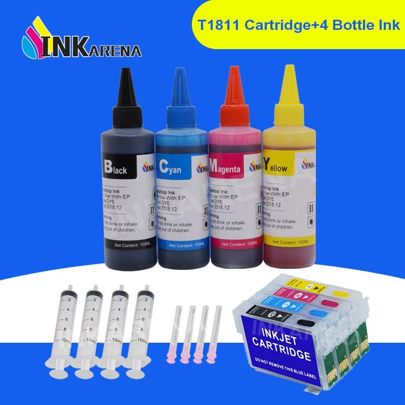 Inkarena 400ml garrafa tinta + 16xl t1621 t16 xl impressora cartucho de tinta para epson workforce WF-2630WF WF-2650DWF WF-2660DWF impressoras