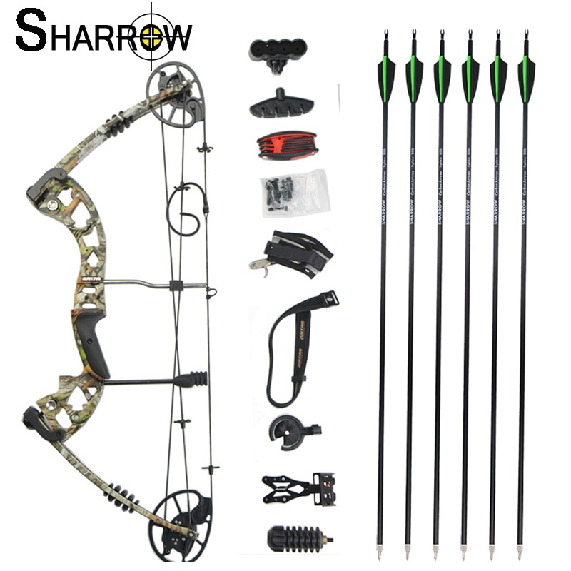 1 Set JUNXING M125 Archery Compound Bow Camo with Carbon Fiber Arrows 30-70lbs Adjustable for Crossbow Slingshot Hunting Bow