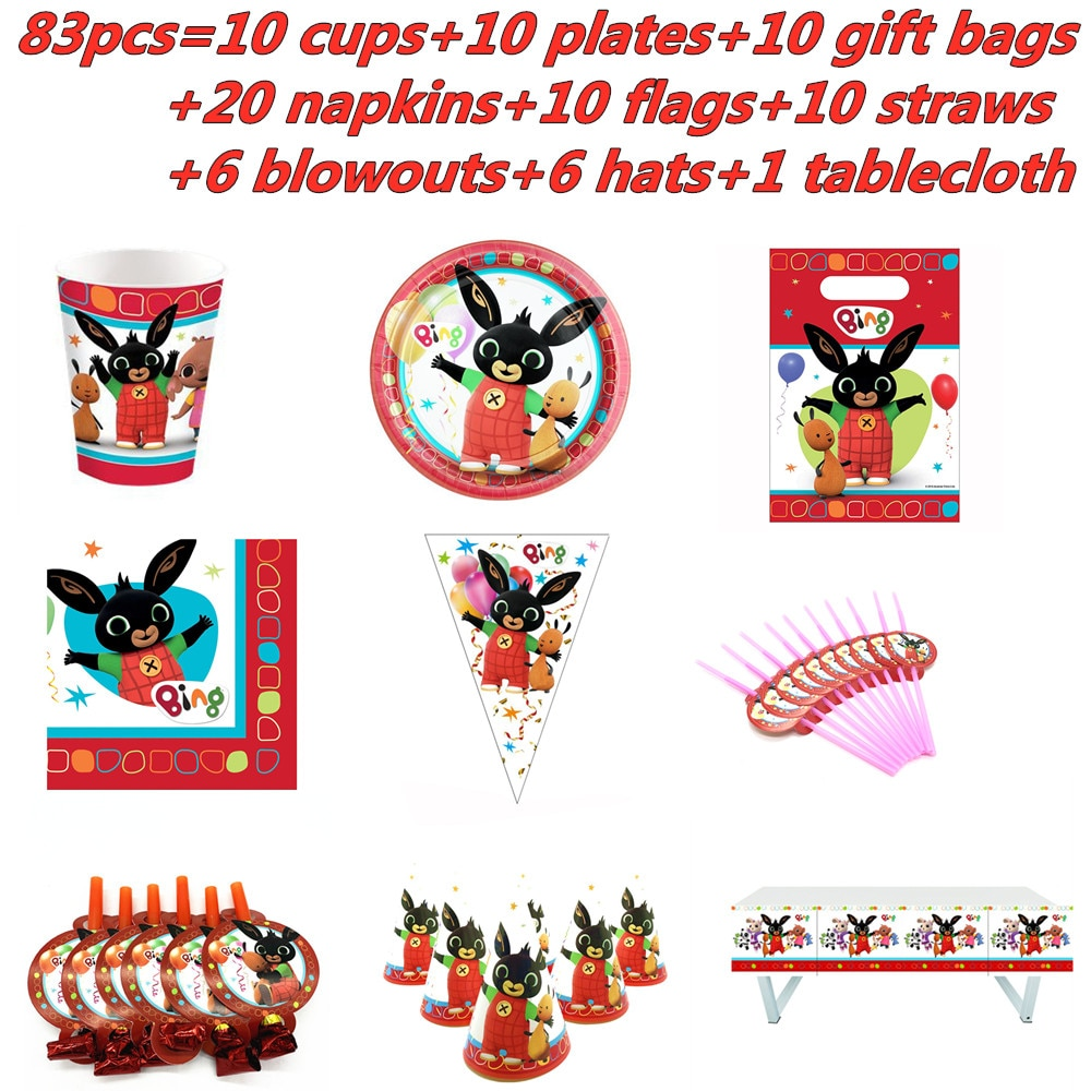 83Pcs Rabbit Theme Cup Plate Napkin Kid Birthday Party Decoration Party Event Supplies Favor Items for Kids 10 People Use