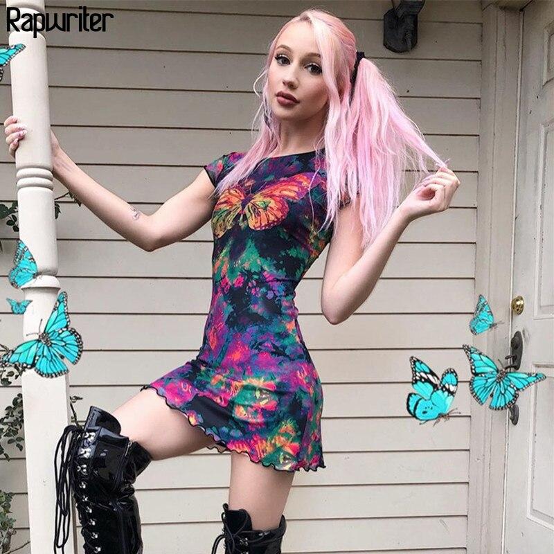 Rapwriter gótico de tinte de corbata mariposa impresa vestido de verano de las mujeres 2020 Vestido de manga corta bodycon Mini vestido Vestidos Mujer tela