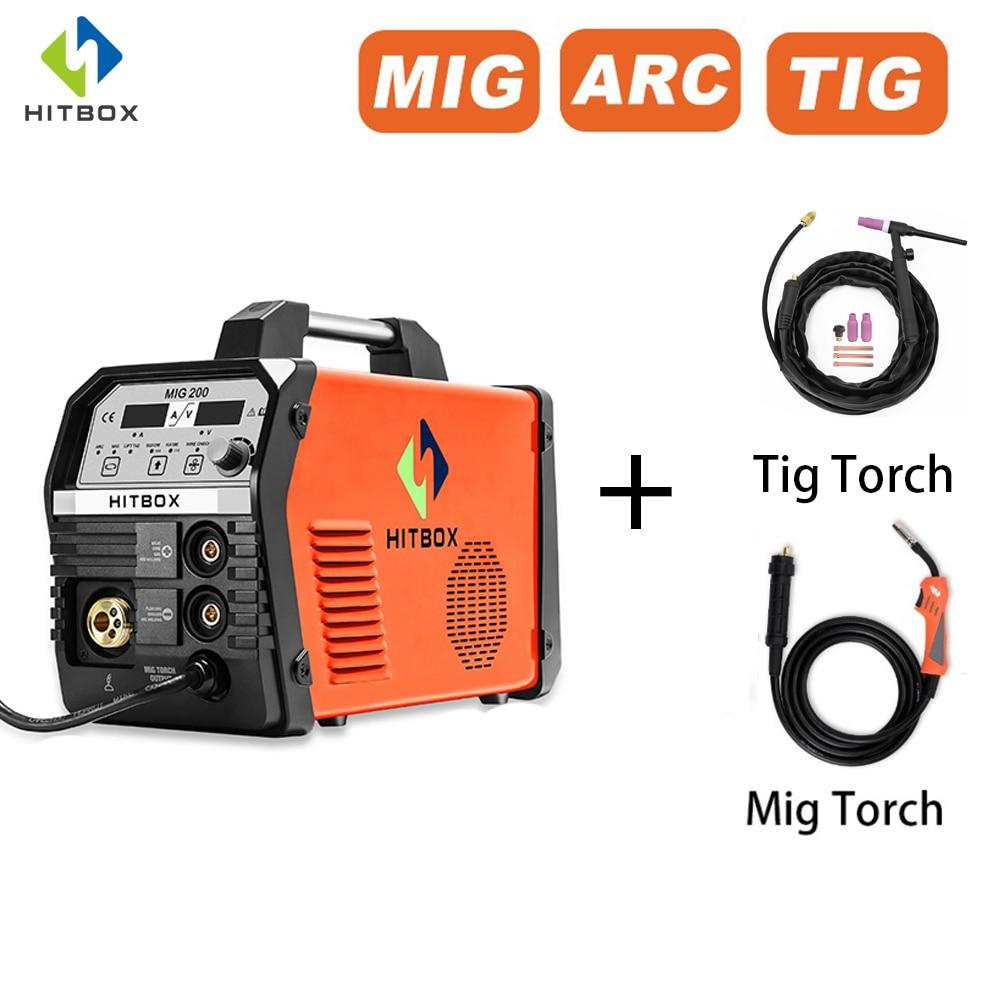 HITBOX-آلة لحام رقمية شبه أوتوماتيكية Mig 220 فولت ، آلة لحام بالغاز مع مصباح يدوي Tig ، MMA ARC ، C02