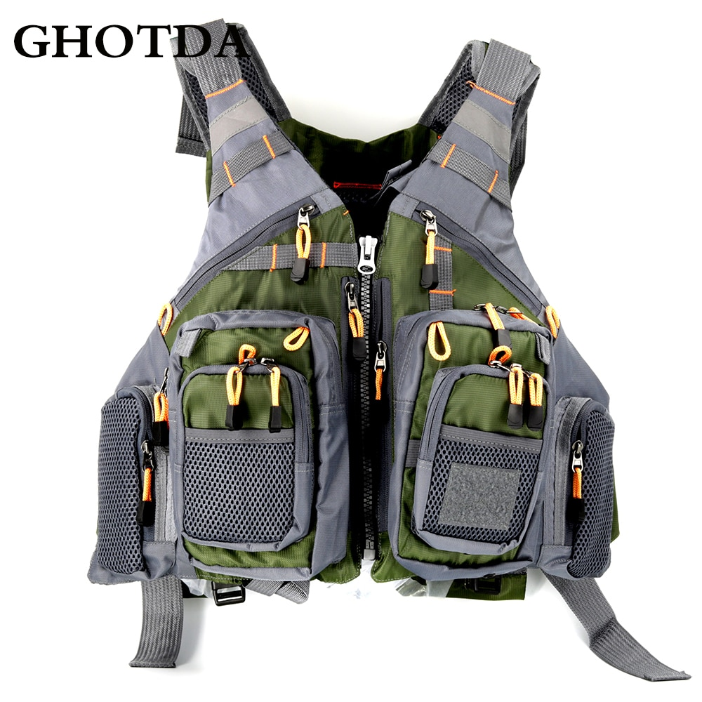 Chaleco salvavidas GHOTDA para exteriores, chaqueta de pesca con mosca, ropa, chaleco de viaje con Espuma Azul/Verde/gris/rojo